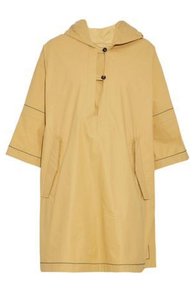 Brunello Cucinelli Woman Bead-embellished Cotton-blend Hooded Poncho Mustard Size 44