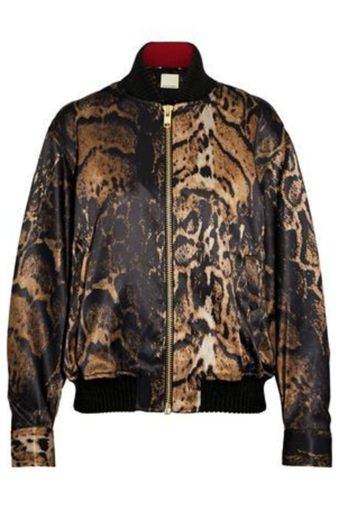By Malene Birger Woman Printed Satin Bomber Jacket Animal Print Size 34