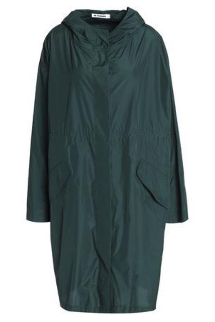 Jil Sander Woman Draped Shell Hooded Jacket Dark Green Size 34