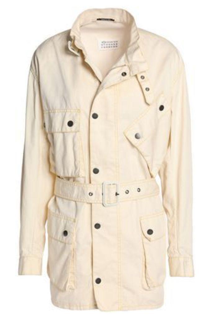Maison Margiela Woman Belted Cotton And Linen-blend Jacket Cream Size 40