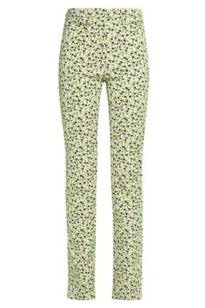 Maison Margiela Woman Embroidered Jacquard Slim-leg Pants Lime Green Size 44