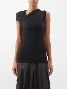 Miu Miu - Floral-lace Point-collar Sleeveless Shirt - Womens - Pink
