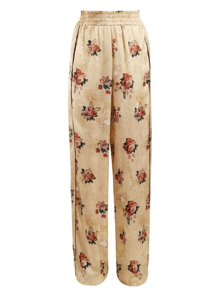 Floral-print wide-leg satin trousers