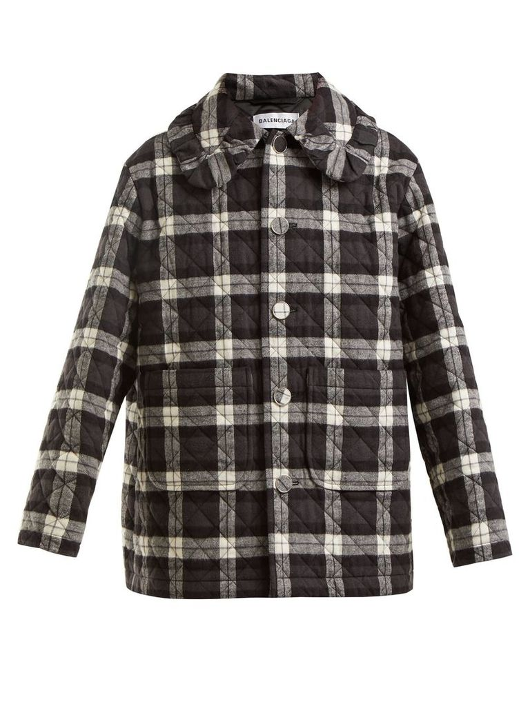 Balenciaga - Checked Quilted Cotton Flannel Jacket - Womens - Black White