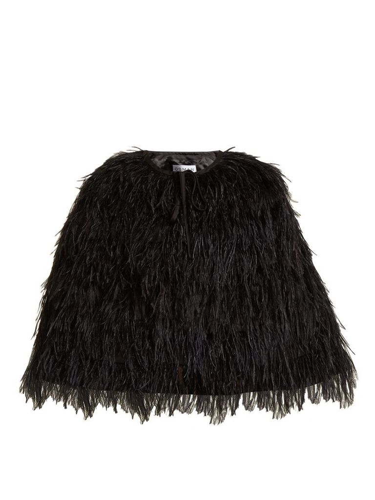 Raven ostrich feather-embellished cape