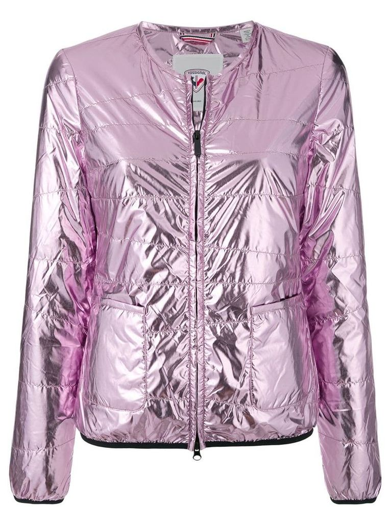 Rossignol collarless laminated jacket - Pink & Purple