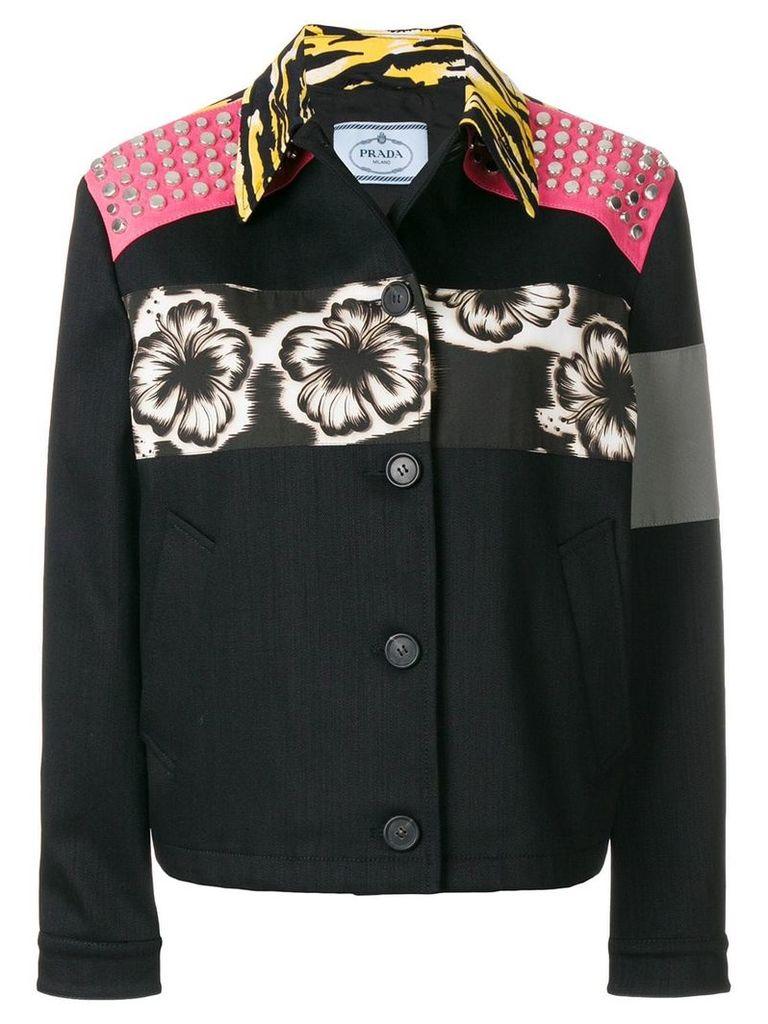 Prada patch applique boxy jacket - Black