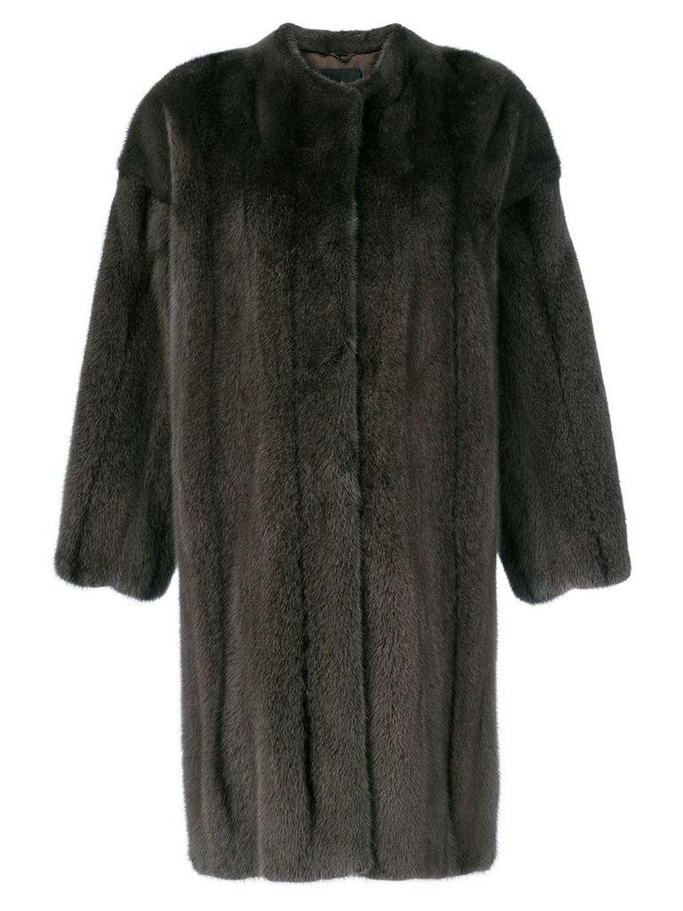 Liska fur mid-length jacket - Brown