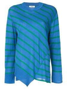 Goen.J asymmetric paneled stripe jumper - Blue