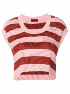 The Gigi cropped striped knit top - White