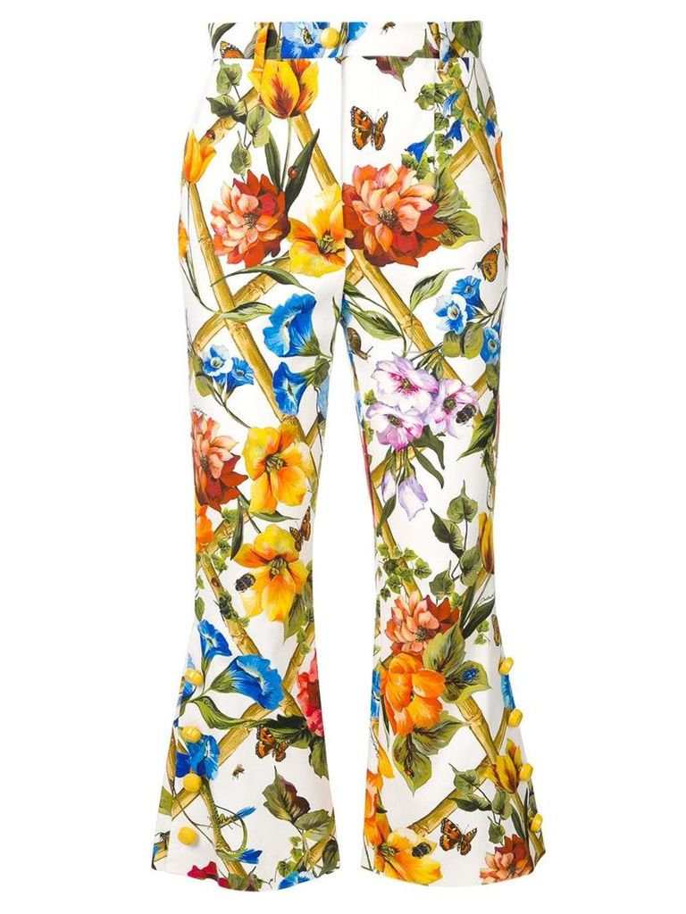 Dolce & Gabbana floral print flared cropped trousers - White
