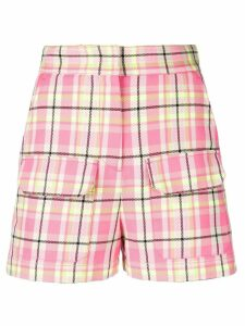 MSGM plaid high-waisted shorts - Pink