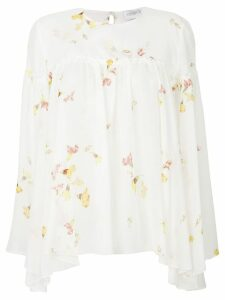 Giambattista Valli floral print flared blouse - White