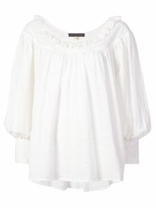 Alexa Chung embroidered long-sleeve blouse - White