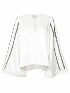 Zeus+Dione embroidered wide sleeve blouse - White