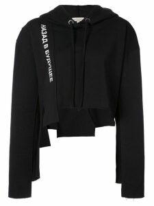 Natasha Zinko graphic-print cropped hoodie - Black