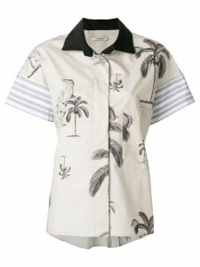 Odeeh palm print board shirt - NEUTRALS
