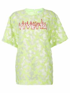 Vivetta logo embroidered sheer Pallene top - Yellow