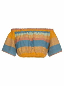 A Peace Treaty Striped cotton and silk crop top - Yellow