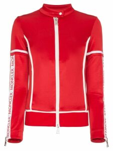 Moncler Panelled Fitted Logo Jacket - Red