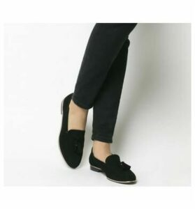 Office Retro Tassel Loafer BLACK SUEDE ROSE GOLD RAND