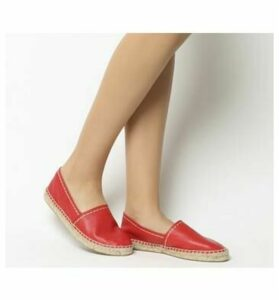 Office Freckle Contrast Stitch Espadrille RED LEATHER