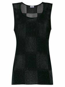 Versace Pre-Owned checked sleeveless tank - Black