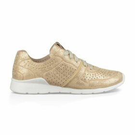 Tye Stardust Gold Leather Lace-Up Trainers