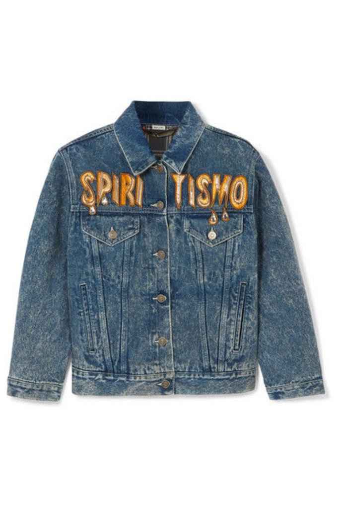 Gucci - Oversized Embellished Appliquéd Denim Jacket - Indigo