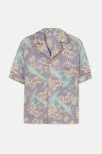 The Elder Statesman - Printed Cashmere And Silk-blend Shirt - Purple