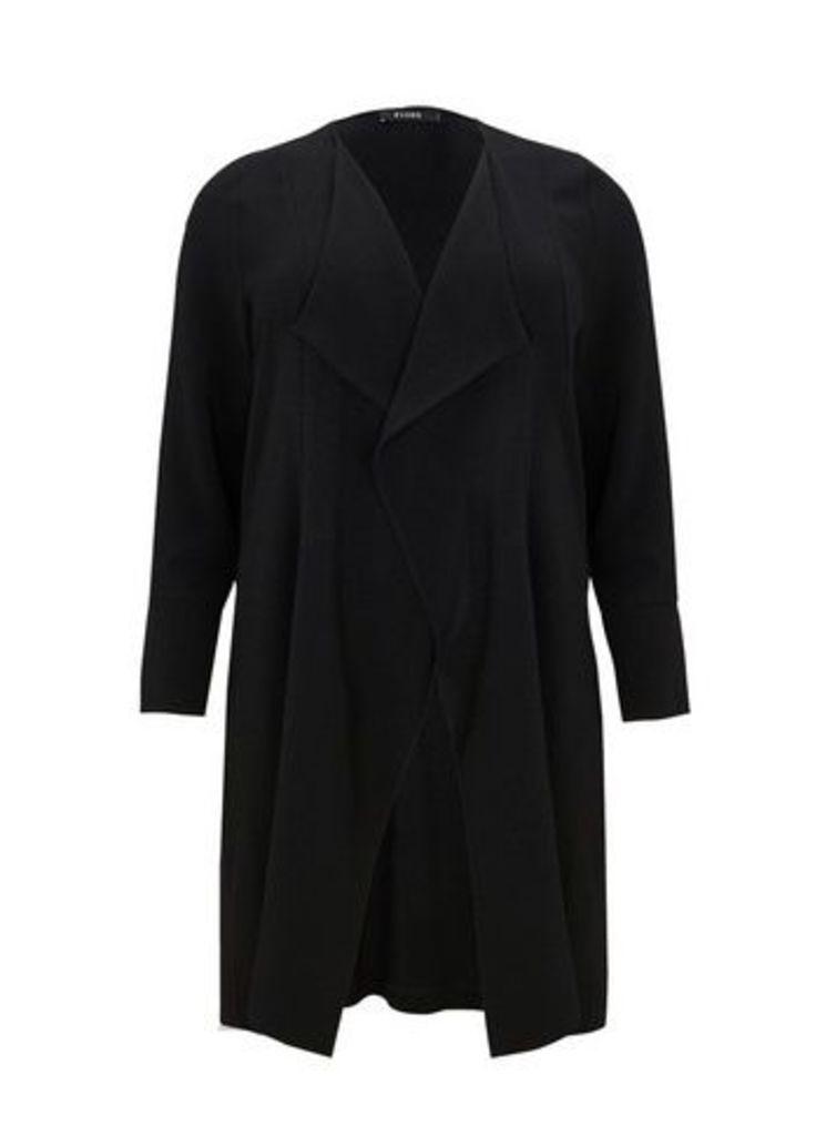 Black Stud Longline Jacket, Black