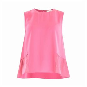 PAISIE - Flared Top With Satin Ruffle Panels In Pink