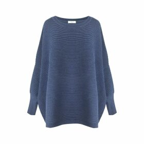 PAISIE - Denim Blue Ribbed Jumper With Side Splits