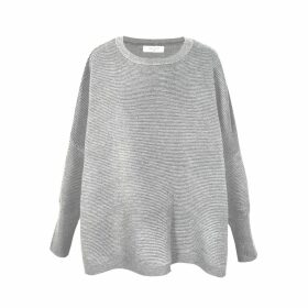 PAISIE - Light Grey Ribbed Jumper With Side Splits
