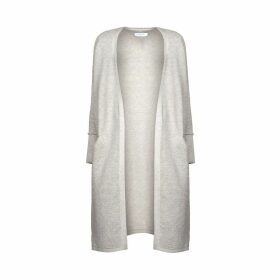 PAISIE - Light Grey Ribbed Cardigan