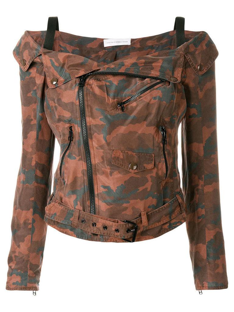 Faith Connexion camouflage cold shoulder jacket - Multicolour