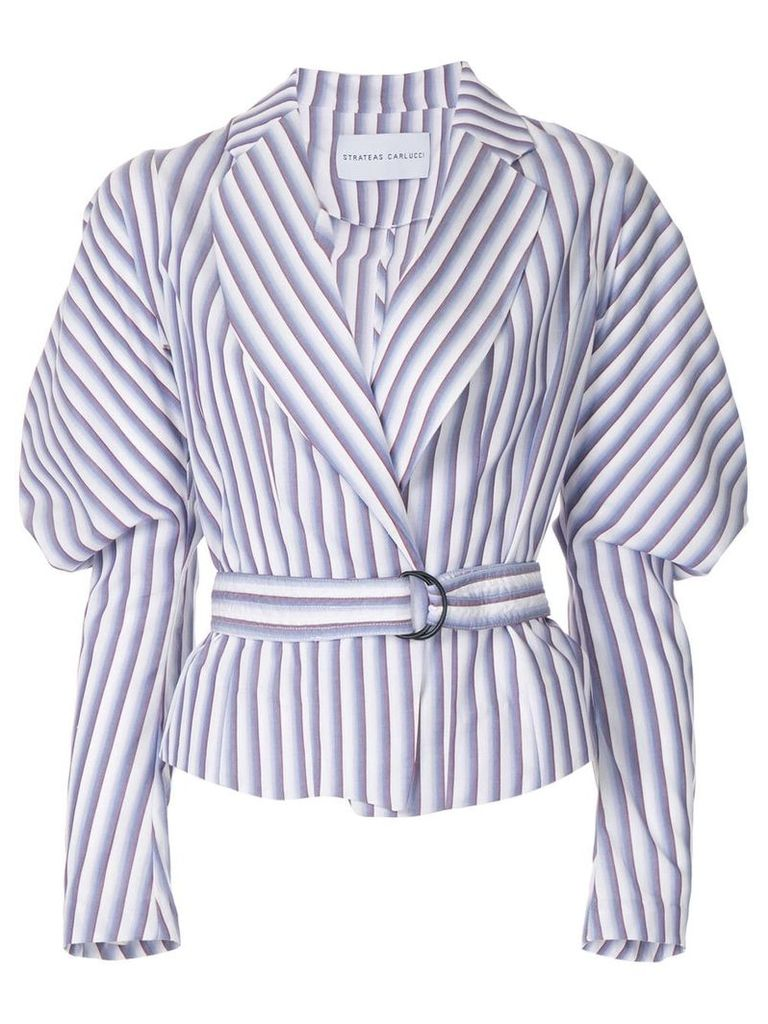 Strateas Carlucci Cumulus puff-sleeve striped belted jacket - Pink &