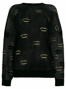 Givenchy embroidered lips sheer top - Black