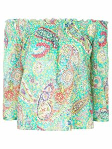 Etro paisley print off shoulder blouse - Green