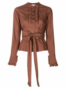 Romeo Gigli Pre-Owned ruffled trim belted shirt - Brown