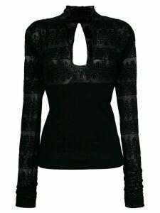 Romeo Gigli Pre-Owned open back longsleeved blouse - Black