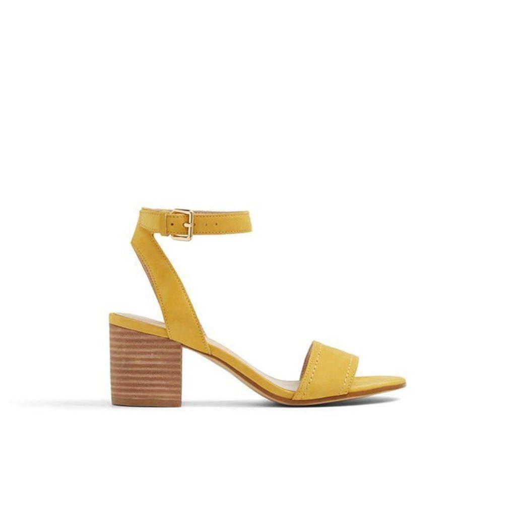 Aldo Lolla Low Block Heel Sandal, Mustard