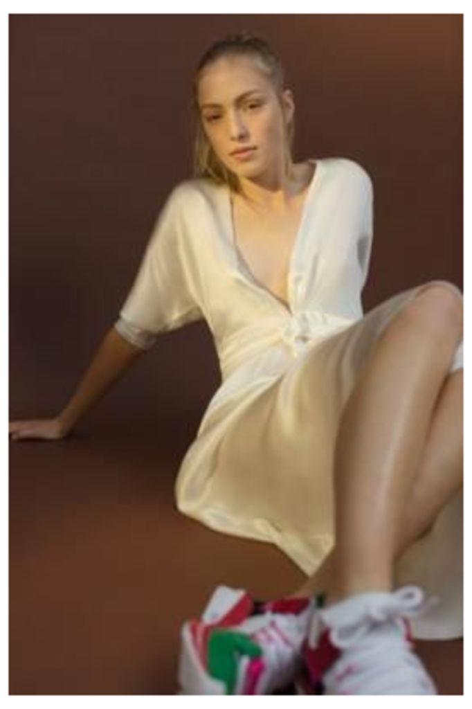 Lupe Gina Long Silk Dress, white