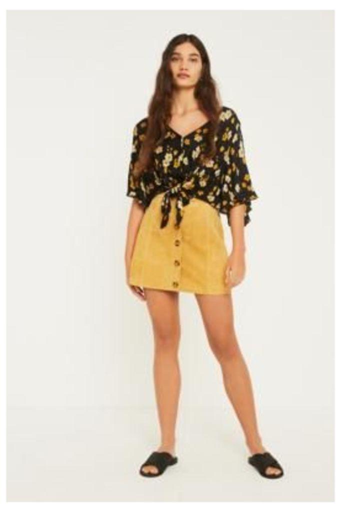 UO Alexa Yellow Suede Button-Through Mini Skirt, yellow