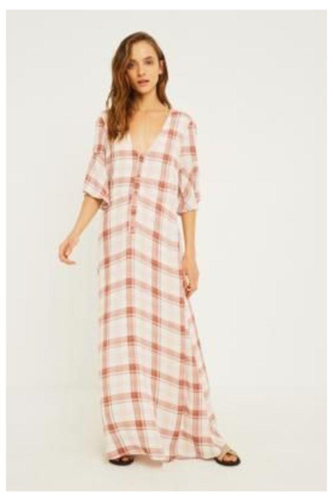 UO Plaid Short-Sleeve Button-Through Maxi Dress, beige