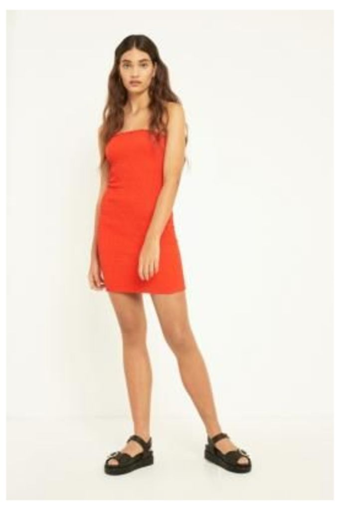 UO Smocked Tube Top Dress, red