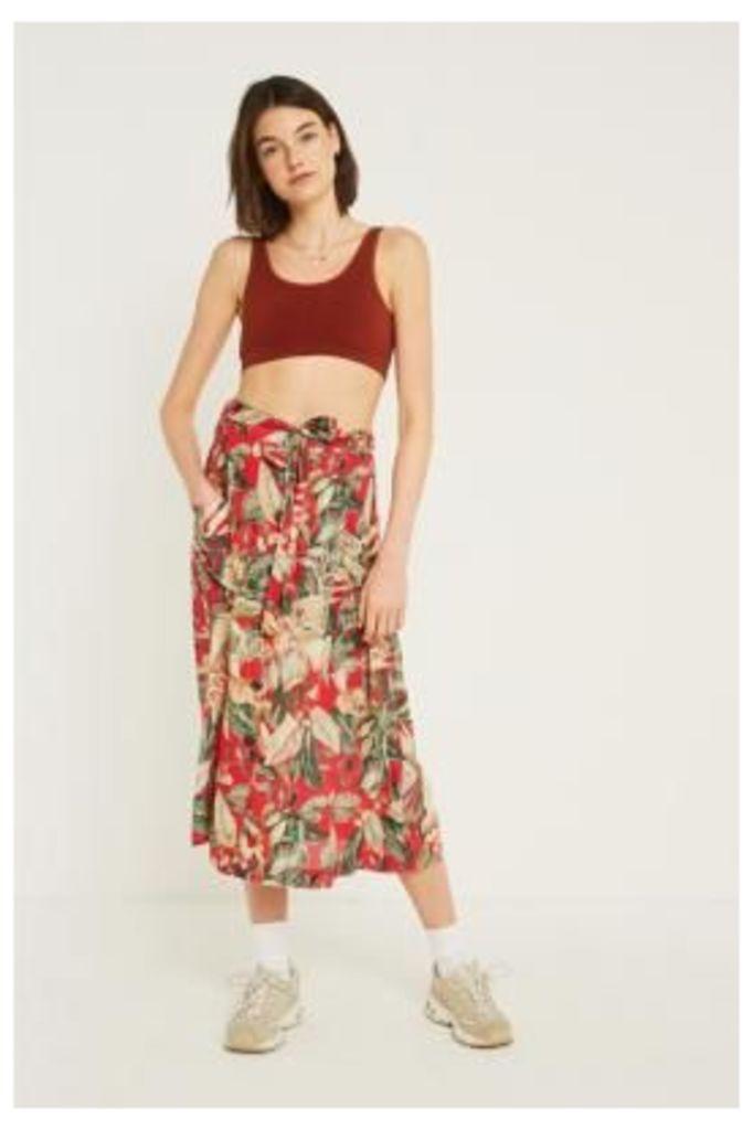 UO Tropical Leaf Button-Through Midi Skirt, red