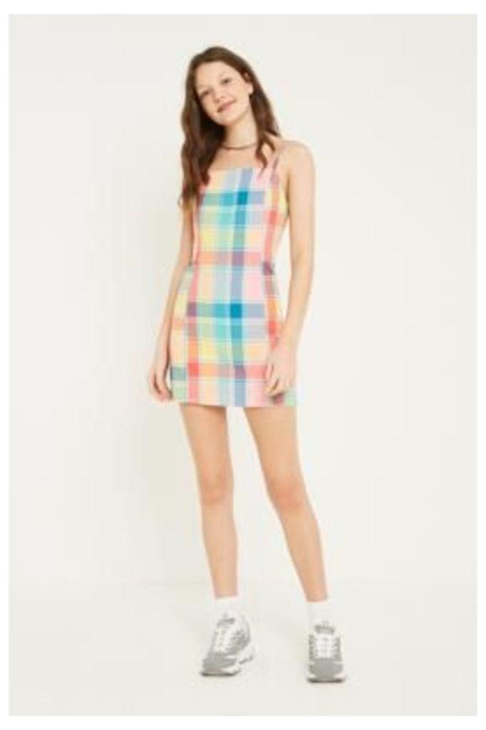 UO Multi Check Slip Dress, pink