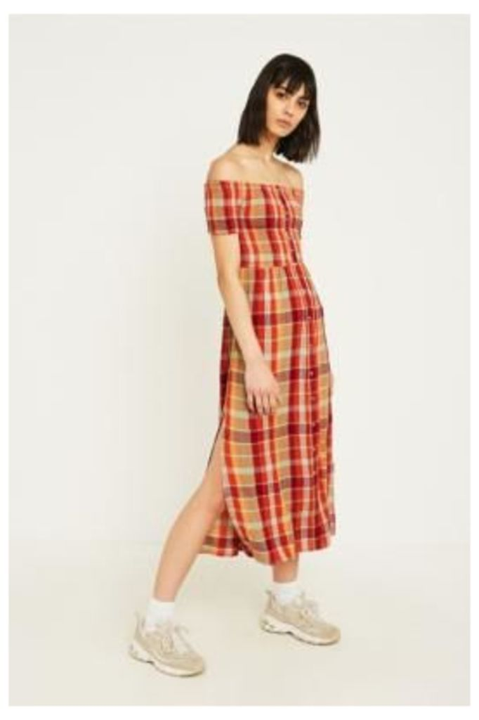 UO Monica Red Check Midi Dress, orange