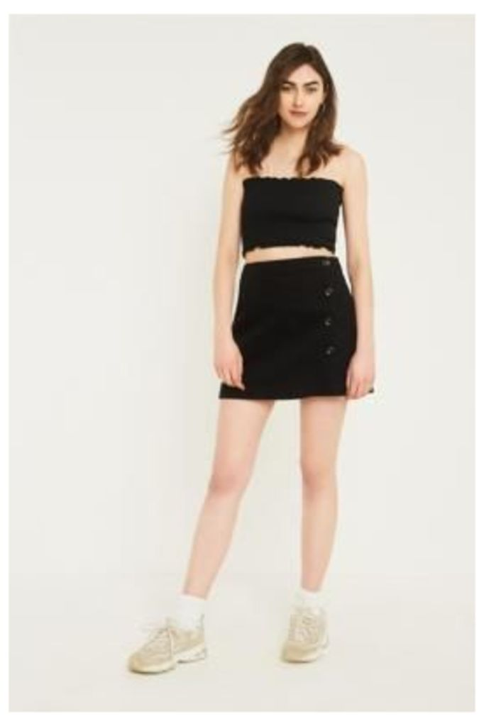 UO Shelly Black Twill Button-Down Mini Skirt, black